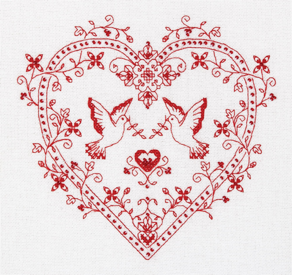 Embroidery kits PANNA SO-1403 Heart with Doves