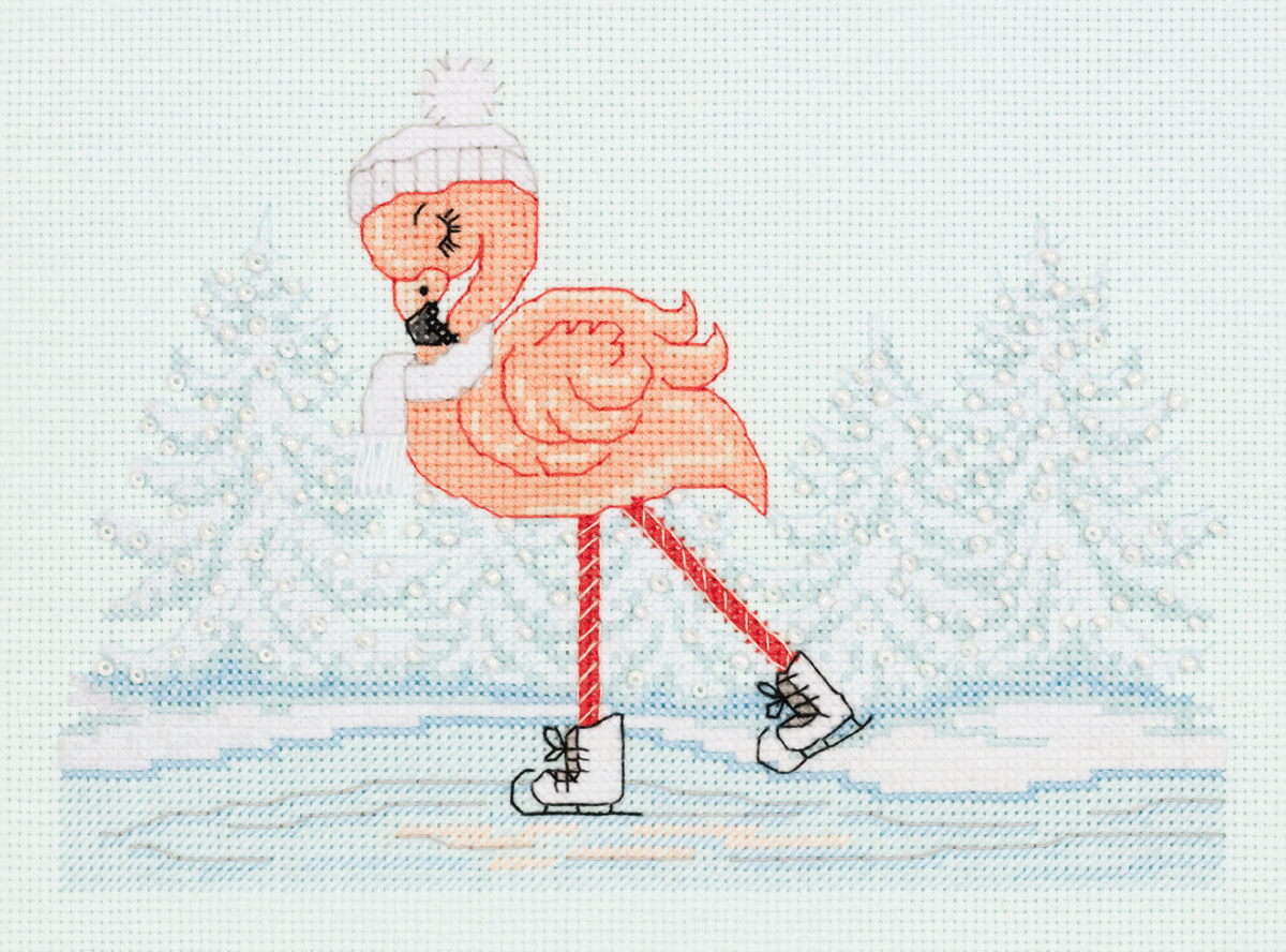 Embroidery kits PANNA 8-417  Flamingo on Skates