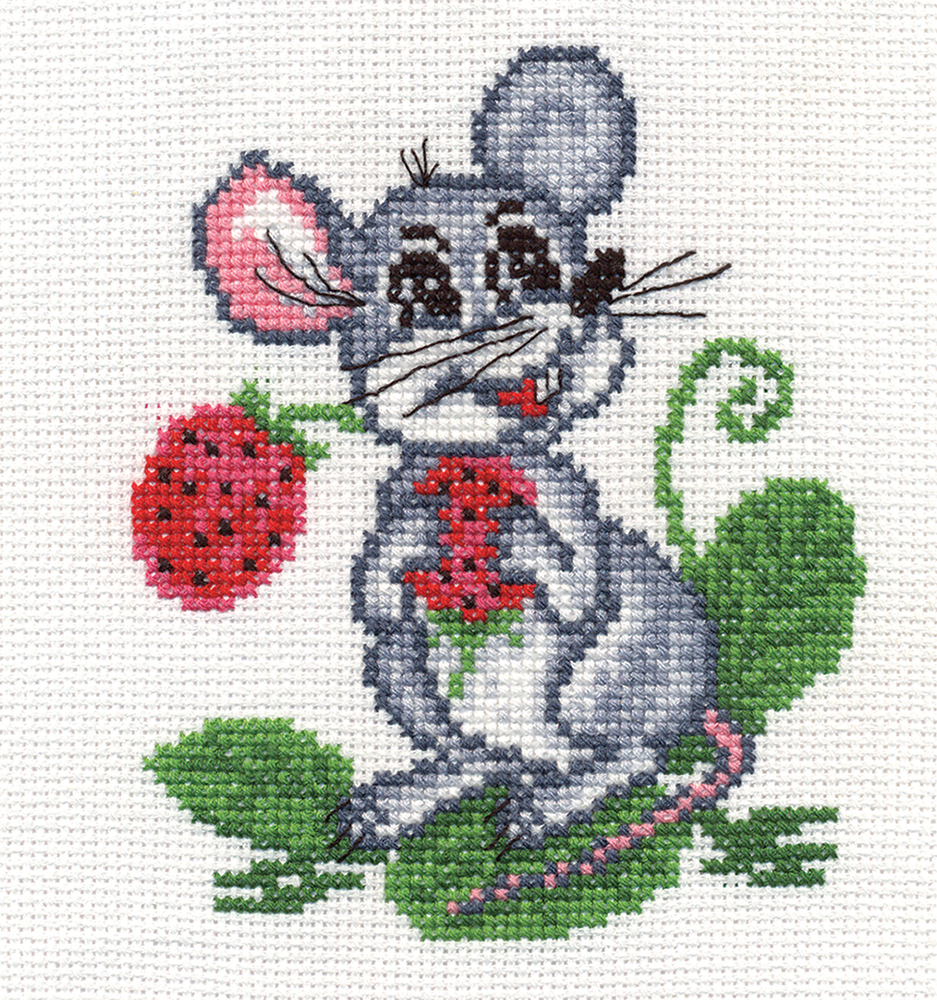 Embroidery kits PANNA D-0106 Mouse with Strawberries
