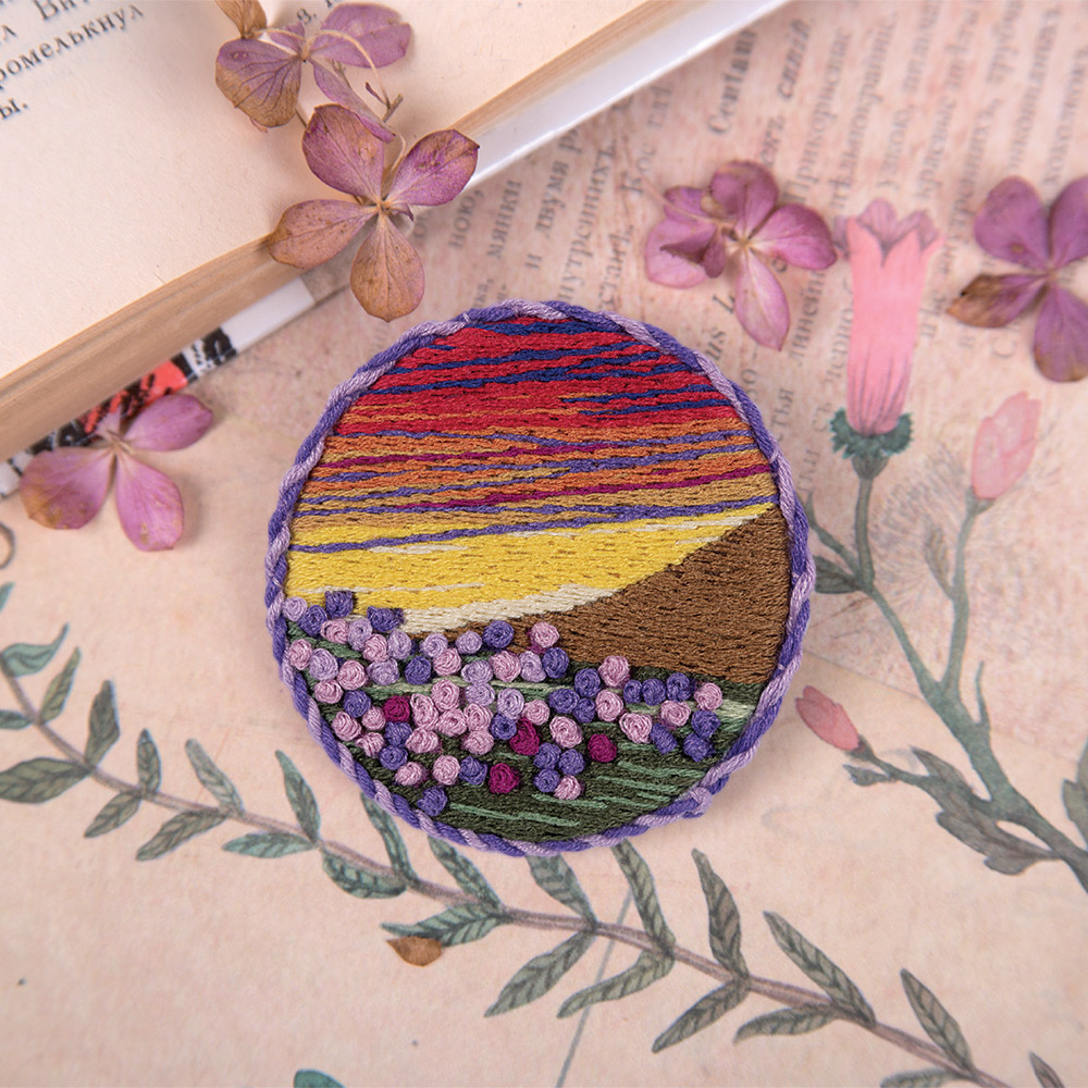 Embroidery kits PANNA Living Picture JK-2150 Brooch. Sunset Meadow