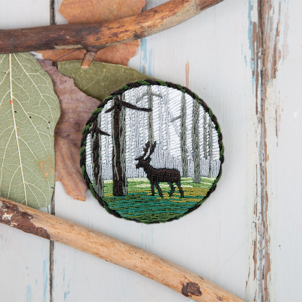 Embroidery kits PANNA Living Picture JK-2146 Brooch. Woodland stag