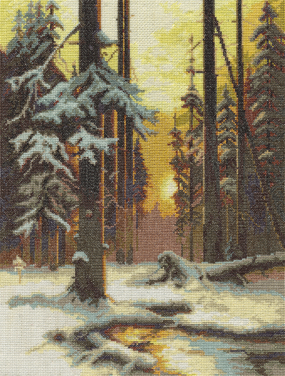 Embroidery kits PANNA VH-1076 Winter Sunset in a Spruce Forest