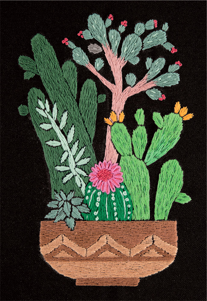 Embroidery kits PANNA Living Picture JK-2134 Cactuses in Planter