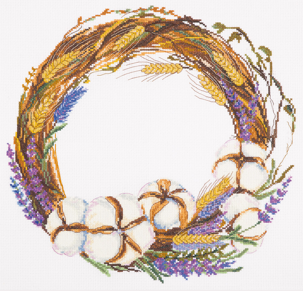 Embroidery kits PANNA PS-1943 Lavender and Cotton Wreath