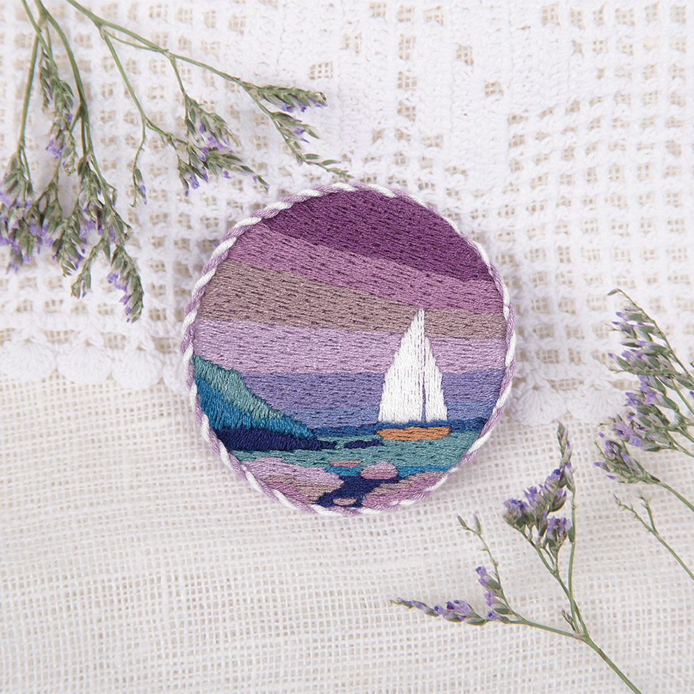 Embroidery kits PANNA Living Picture JK-2148 Seaside Sunset Brooch