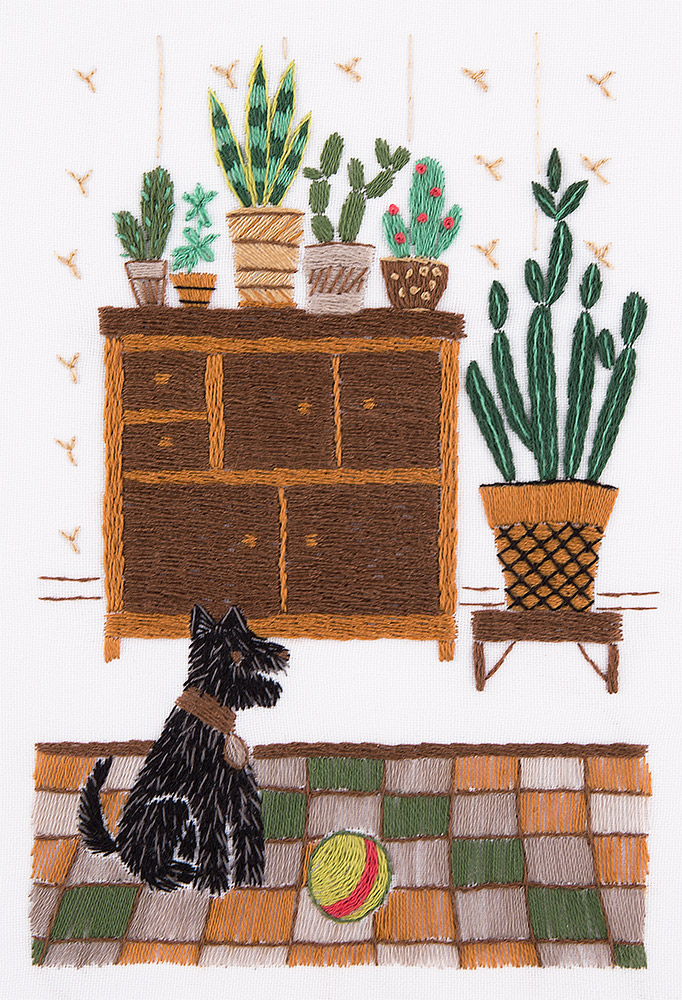 Embroidery kits PANNA Living Picture JK-2108 Houseplants Corner. Puppy