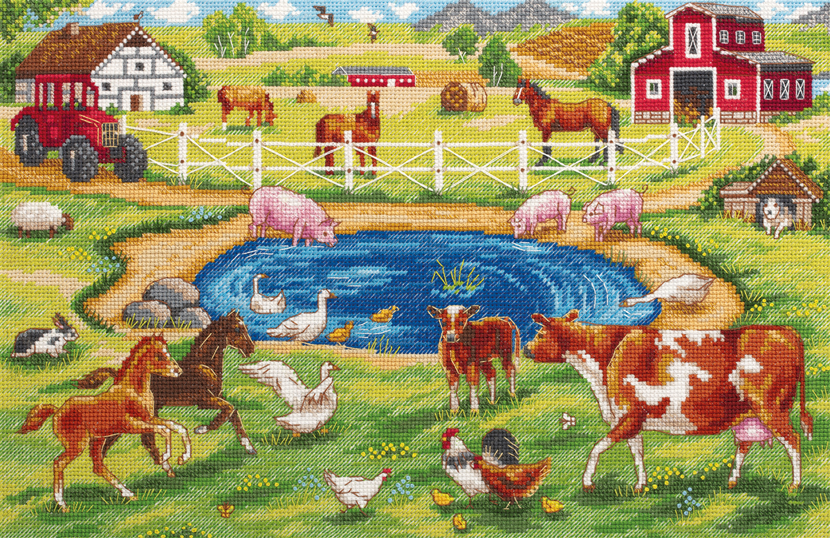 Embroidery kits PANNA DE-7218 Morning on the Farm