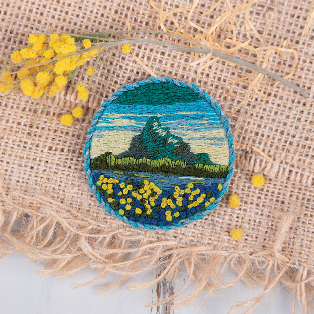 Embroidery kits PANNA Living Picture JK-2144 Brooch. Alpine Flowers