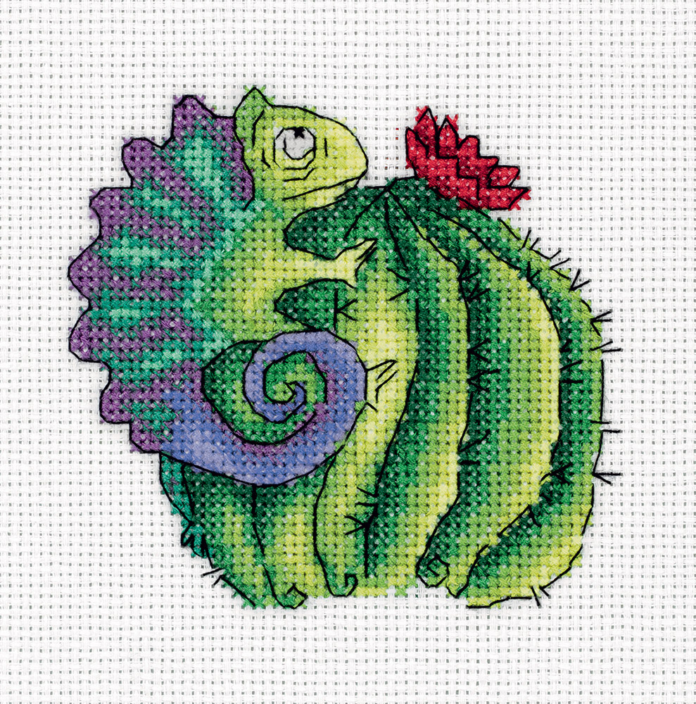 Embroidery kits PANNA 8-319 Chameleon on a Cactus