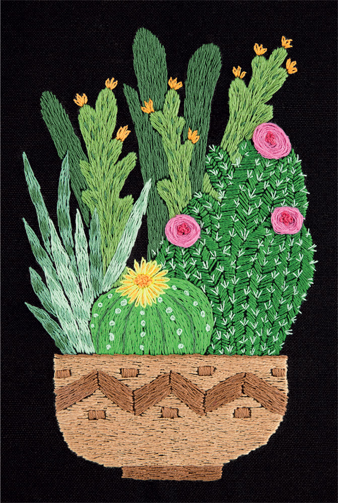 Embroidery kits PANNA Living Picture JK-2133 Cactuses in Pot