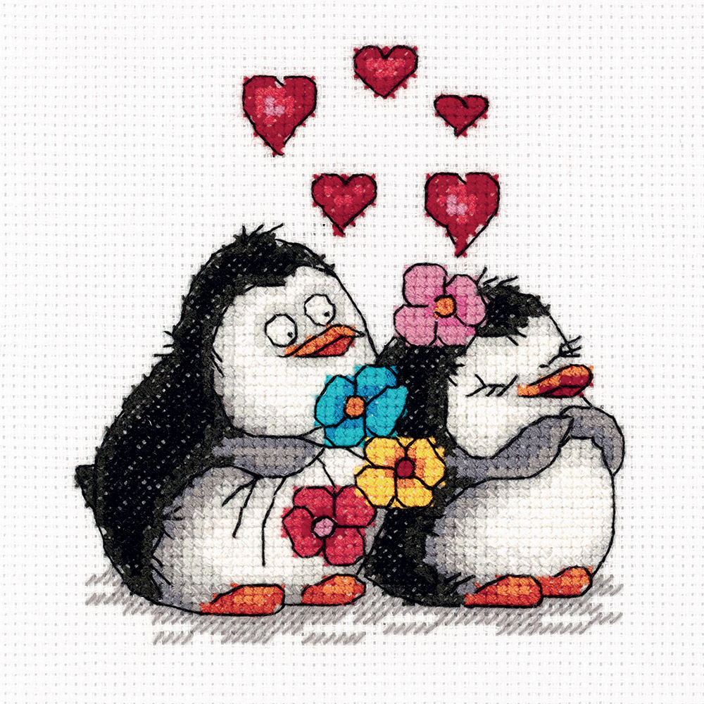 Embroidery kits PANNA 8-287 Penguins in Love