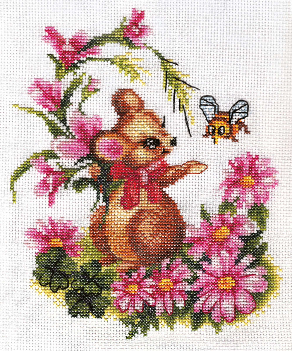 Embroidery kits PANNA D-0276 Mouse with Flowers