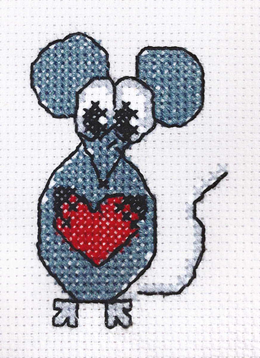 Embroidery kits PANNA 7-115 Little Mouse with a Heart