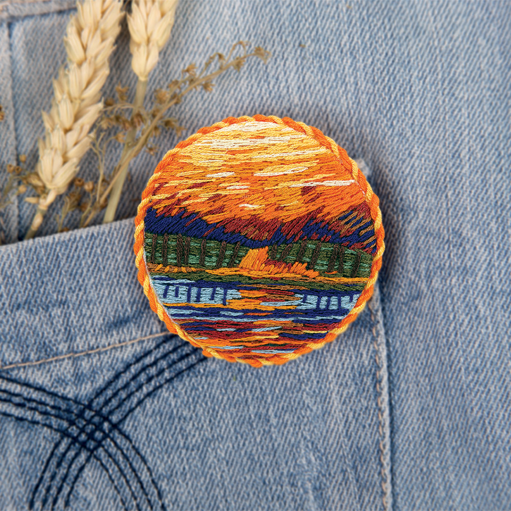 Embroidery kits PANNA Living Picture JK-2149 Brooch. Autumn Pond