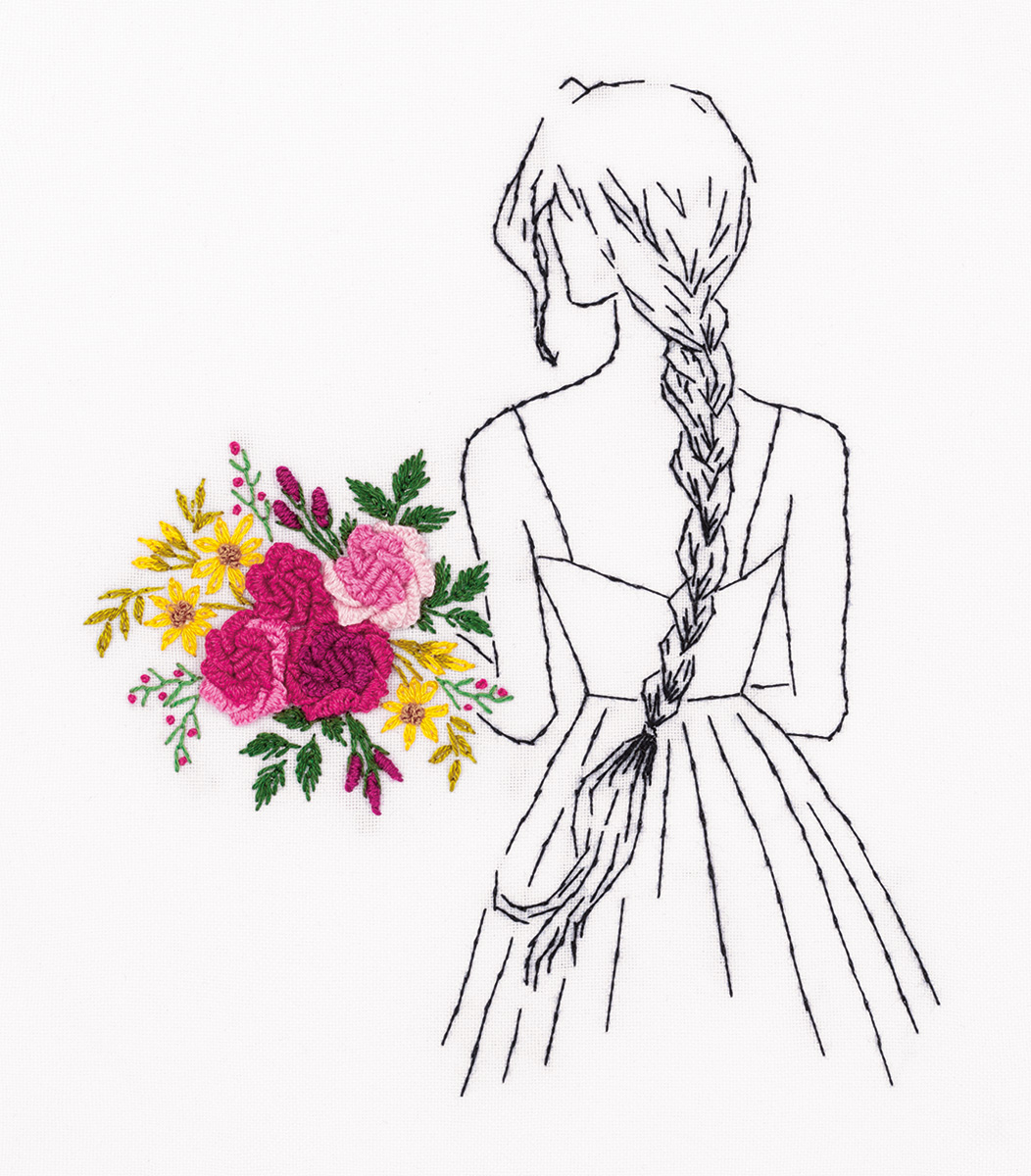 Embroidery kits PANNA Living Picture JK-2172 Girl with a Bouquet
