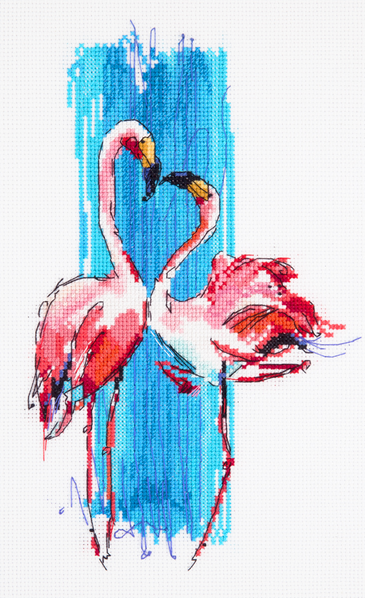 Embroidery kits PANNA PT-7014 Pink Flamingos